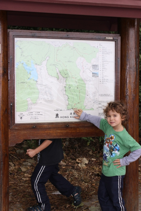 Lennon mapping out our hike!